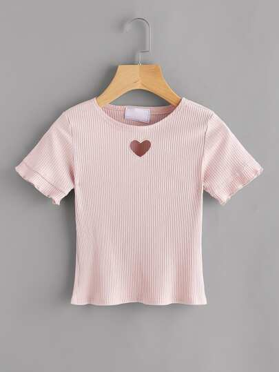 Heart Cut Out Ribbed Tee