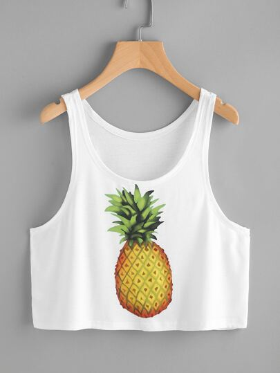 Pineapple Print Crop Tank Top