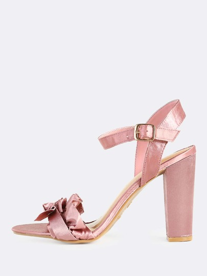 Frilly Single Band Ankle Strap Heels MAUVE