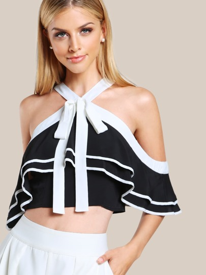 Zip Up Ruffle Front Crop Top BLACK