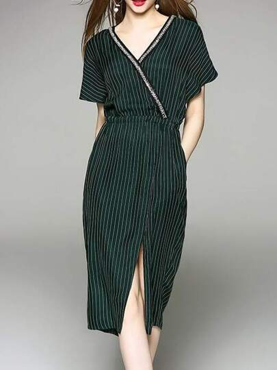 V Neck Beading Pockets Striped Split Dress