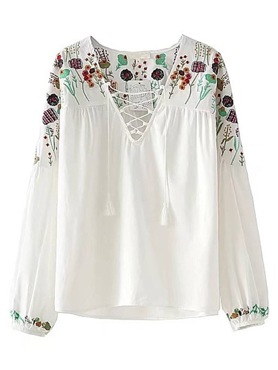 Drop Shoulder Tassel Tie Embroidery Top