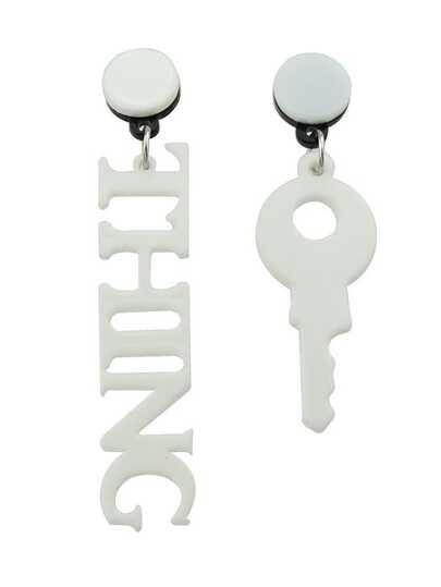 White Key English Alphabet Shape Asymmetrical Earrings