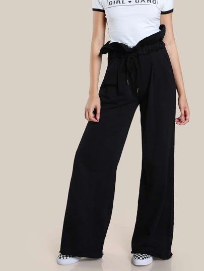 High Rise Drawstring Jogger Pants BLACK