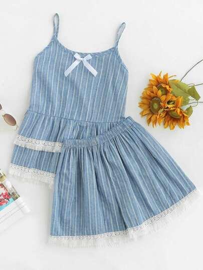 Cami Pajama Set mit Häkelbesatz, Spitzen und Falten