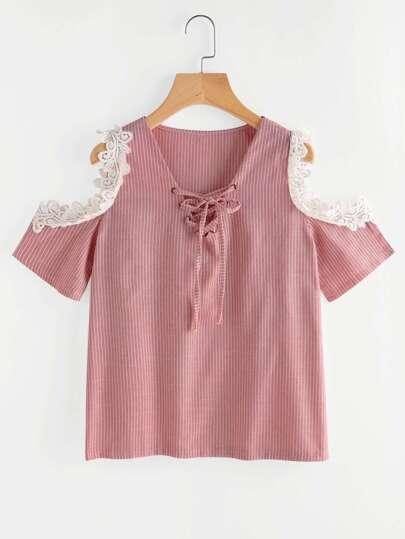 Crochet Applique Trim Open Shoulder Lace Up Pinstriped Top