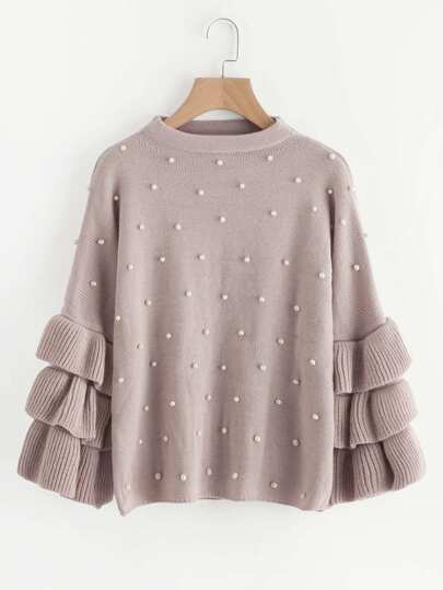 Pearl Beaded Layered Ruffle Sleeve Jumper