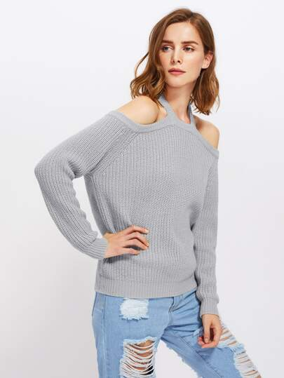 Halter Off Shoulder Jumper