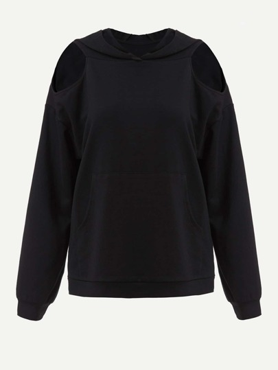 Cutout Drop Shoulder Hoodie