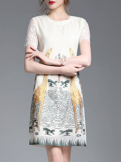 Giraffes Embroidered Shift Dress
