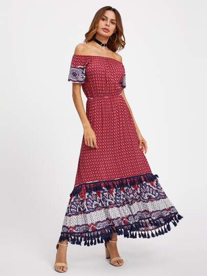 Ornate Print Tassel Trim Bardot Dress