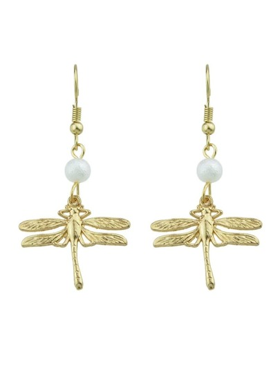 Gold Color Vintage Dragonfly Pearl Pendant Earrings