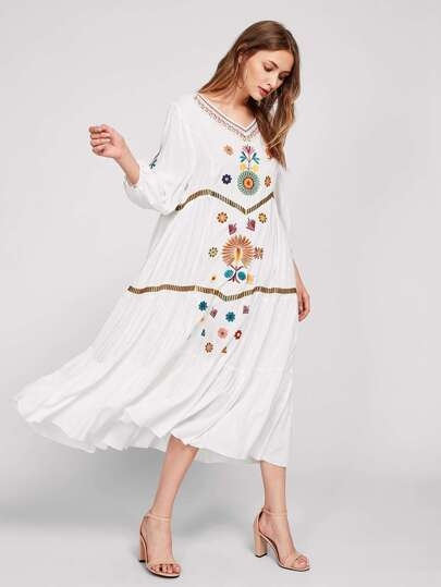 Lantern Sleeve Embroidered Tiered Dress