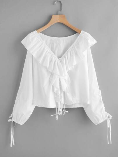 Exaggerated Frill V Neckline Self Tie Blouse