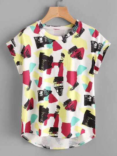 Abstract Print High Low Tshirt
