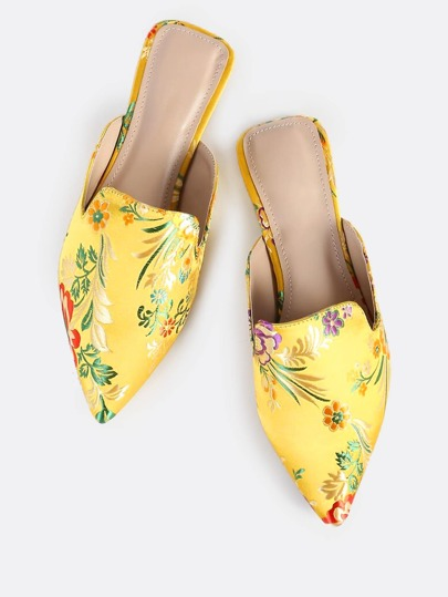 Backless Oriental Print Loafers YELLOW