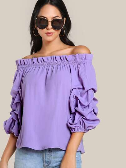 Gathered Sleeve Ruffle Detail Gingham Top