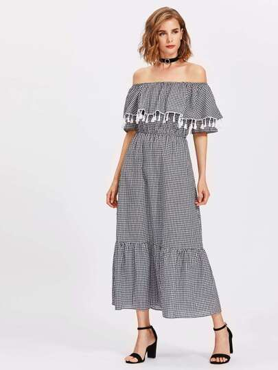 Flounce Layered Neckline Tassel Trim Gingham Dress