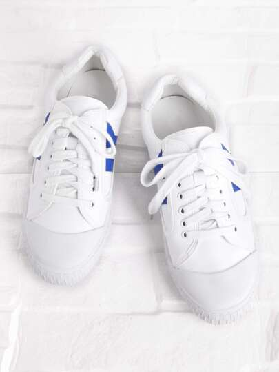 Chaussures de sport en PU à lacets