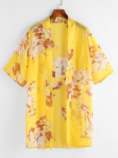 Allover Florals Chiffon Kimono
