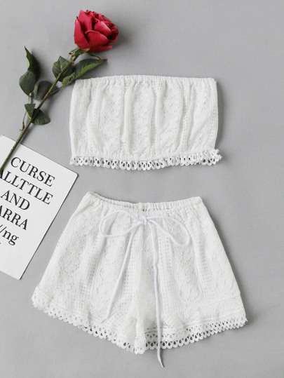 Lace Crop Bandeau Top And Shorts Set