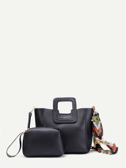Contrast Strap PU Combination Bag 2pcs