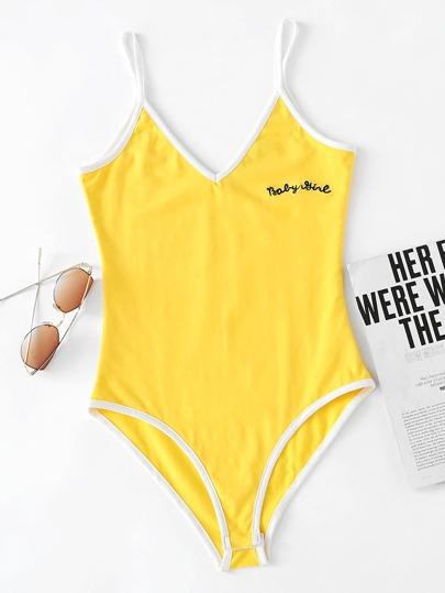 V Neckline Letter Embroidered Ringer Cami Bodysuit