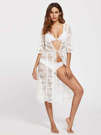 Scallop Trim Embroidered Lace Kimono