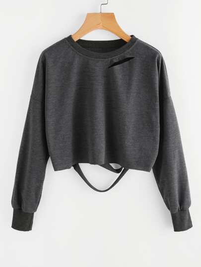 Dark Grey Drop Shoulder Cut Out Crop T-shirt