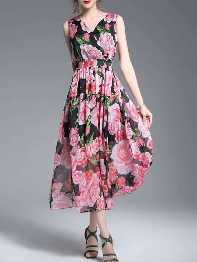 V Neck Rose Print A-Line Dress