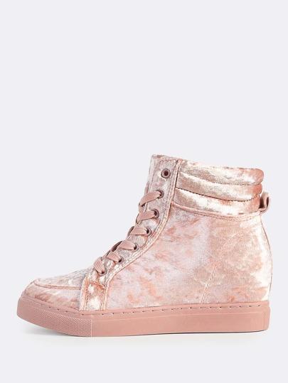 Velvet Lace Up Sneakers MAUVE