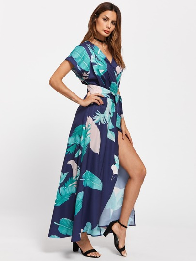 Tropical Print Dolman Sleeve Surplice Dress