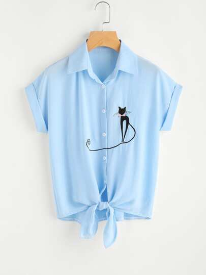 Cat Embroidery Knotted Hem Cuffed Shirt
