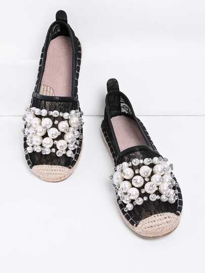 Faux Pearl Embellished Lace Overlay Espadrilles