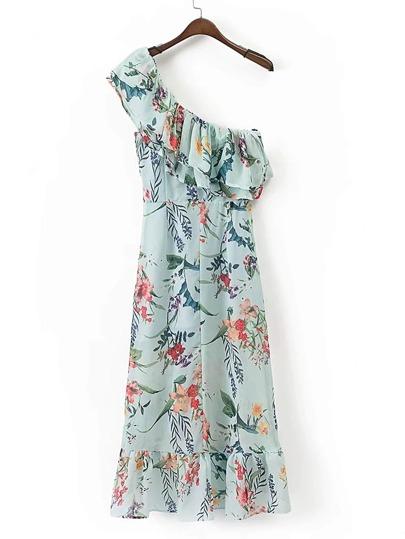 Oblique Shoulder Ruffle Layered Maxi Dress