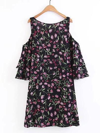 Open Shoulder Layered Sleeve Floral Dress