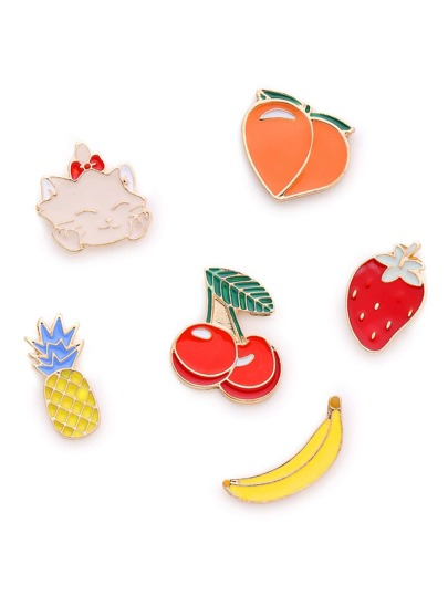 Fruit And Cat Shaped Brooch Set
