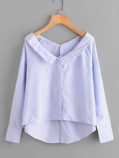 Raglan Sleeve Dip Hem Striped Blouse