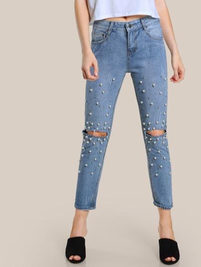 Pearl & Disco Ball Embellished Denim Pants LIGHT DENIM