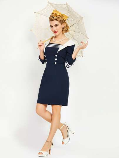 Contrast Striped Trim Sailor Nautical Sheath Dress