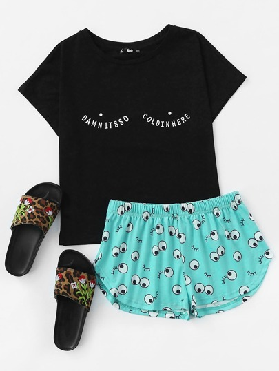 Tee And Allover Cartoon Eyes Print Shorts Pajama Set