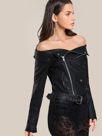 Off SHoulder Leather Jacket BLACK
