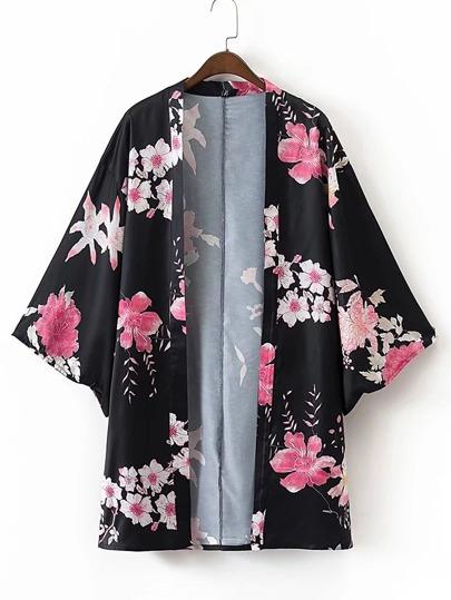 Kimono abierto en la parte delantera con estampado floral