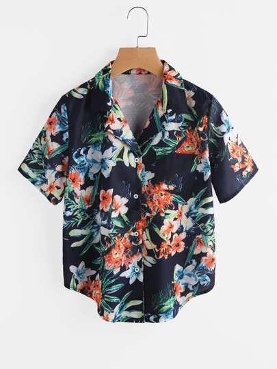 Random Botanical Print Revere Collar Curved Hem Shirt