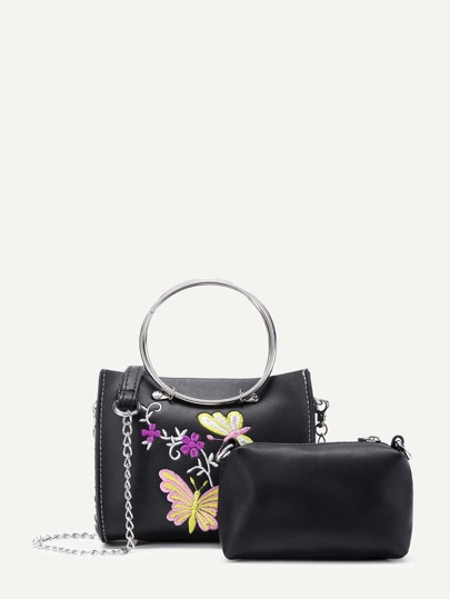 Butterfly Embroidery PU Cross Body Bag With Clutch