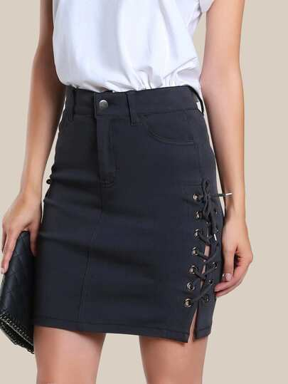Eyelet Lace Up Side Skirt