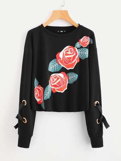 Grommet Lace Up Sleeve Floral Sweatshirt