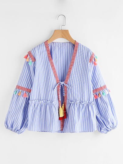 Embroidered Tape Detail Tassel Trim Vertical Striped Kimono