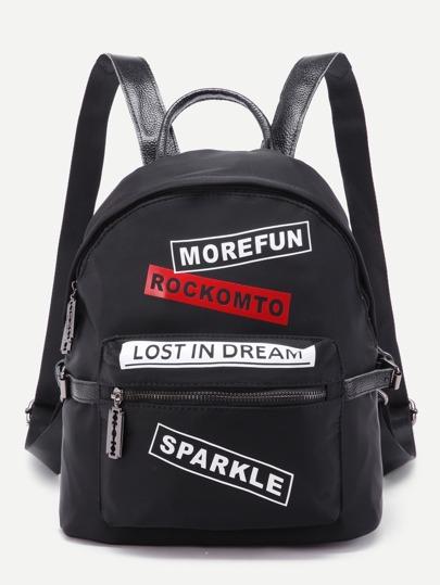 Nylon Rucksack mit Buchstabe und Tasche vorn