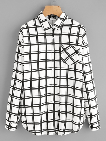 Single Pocket Roll Tab Sleeve Grid Shirt